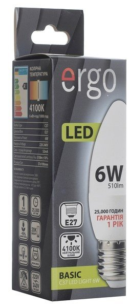 Светодиодная лампа ERGO Basic C37 E27 6W 220V 4100K (LBCC37E276ANFN) фото 3