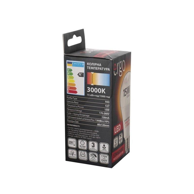 Светодиодная лампа ERGO Standard A60 E27 15W 220V 3000K (LSTA60E2715AWFN) фото 3