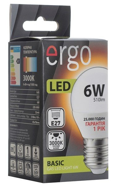 Комплект светодиодных ламп ERGO Basic G45 E27 6W 220V 3000K (LBCG45E276AWFN3+1) фото 2