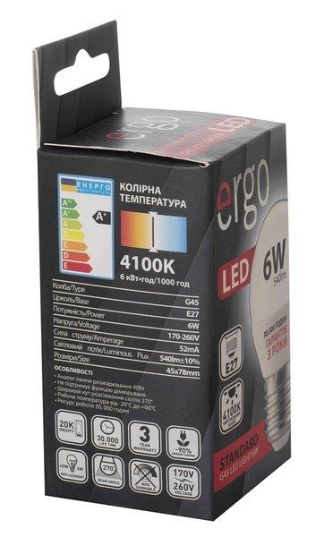 Светодиодная лампа ERGO Standard G45 E27 6W 220V 4100K (LSTG45E276ANFN) фото 3