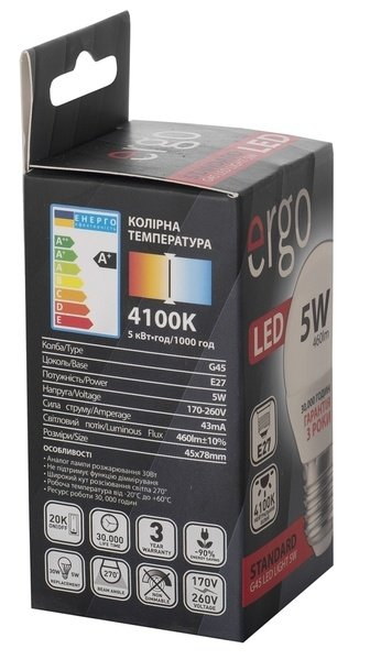 Светодиодная лампа ERGO Standard G45 E27 5W 220V 4100K (LSTG45E275ANFN) фото 3