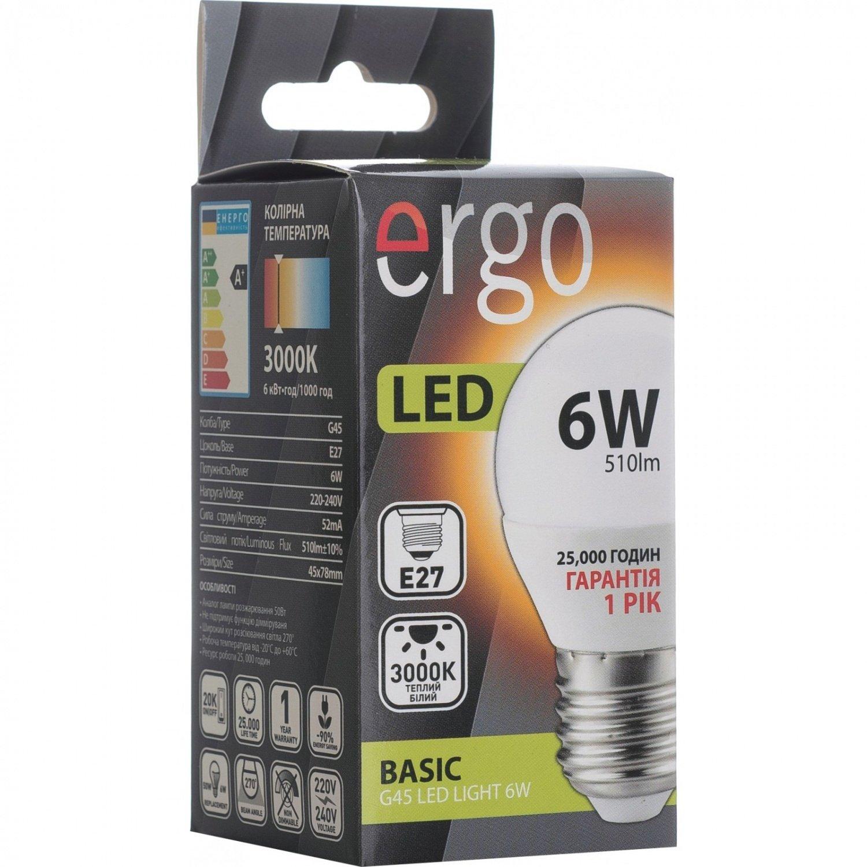 Светодиодная лампа ERGO Basic G45 E27 6W 220V 4100K (LBCG45E276ANFN) фото 3