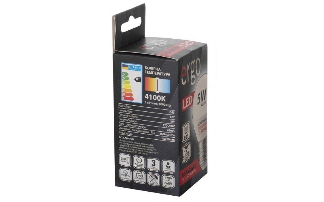 Светодиодная лампа ERGO Standard G45 E27 5W 220V 3000K (LSTG45E275AWFN) фото 5