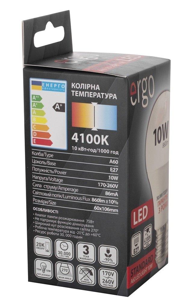 Светодиодная лампа ERGO Standard A60 E27 10W 220V 4100K (LSTA60E2710ANFN) фото 5