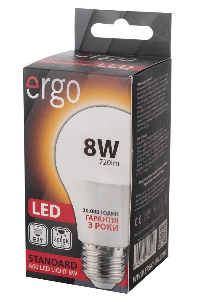 Світлодіодна лампа ERGO Standard A60 E27 8W 220V 3000K (LSTA60E278AWFN) фото3