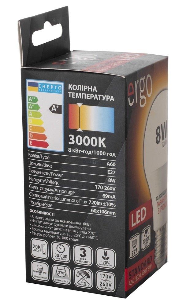 Світлодіодна лампа ERGO Standard A60 E27 8W 220V 3000K (LSTA60E278AWFN) фото5
