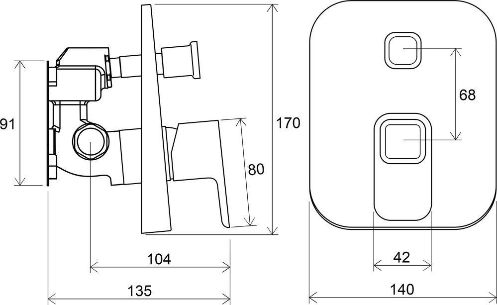 Верхня частина змішувача для ванни RAVAK 10 TD 065.00 X070070 фото3