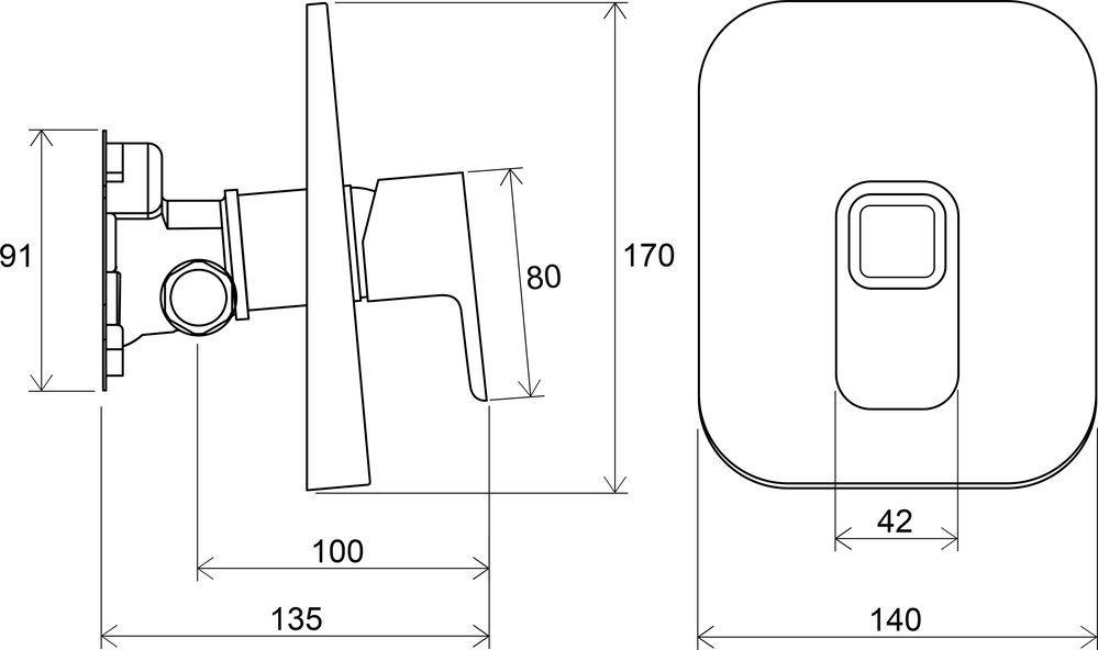 Верхняя часть смесителя для душа RAVAK 10 TD 066.00 X070071 фото 4