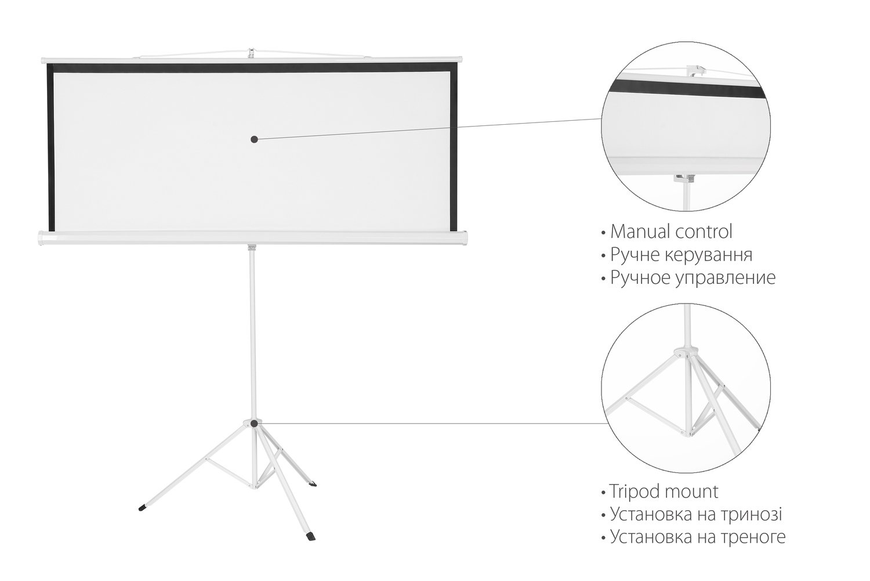 """Екран на тринозі 2E 1: 1, 100"""" (1.8х1.8 м) фото"""