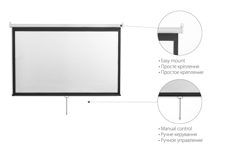 """Экран подвесной 2E 4:3, 120"""" (2.4х1.8 м) фото"""