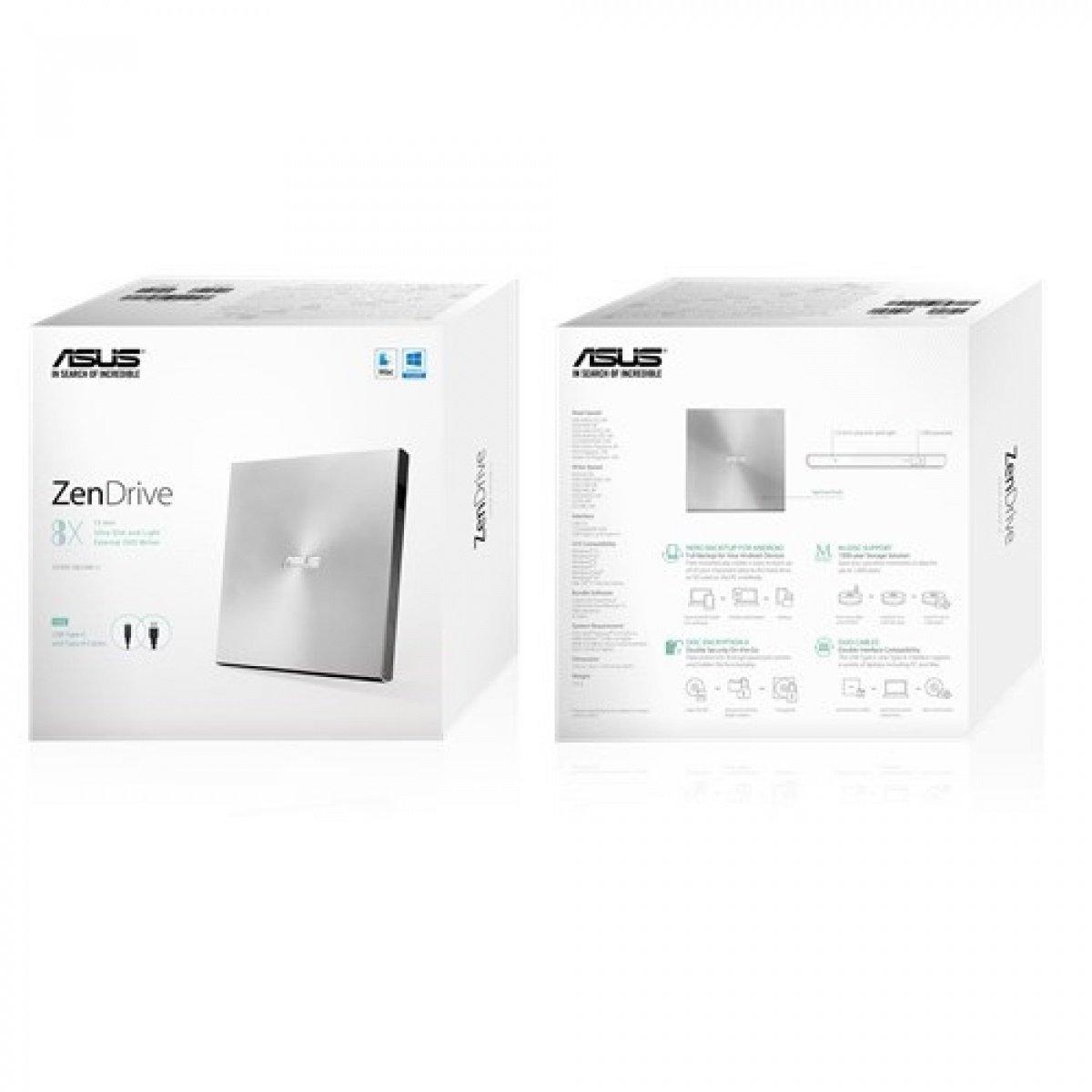 Зовнішній оптичний привід ASUS DVD ± R/RW USB 2.0 ZenDrive U9M Silver фото3