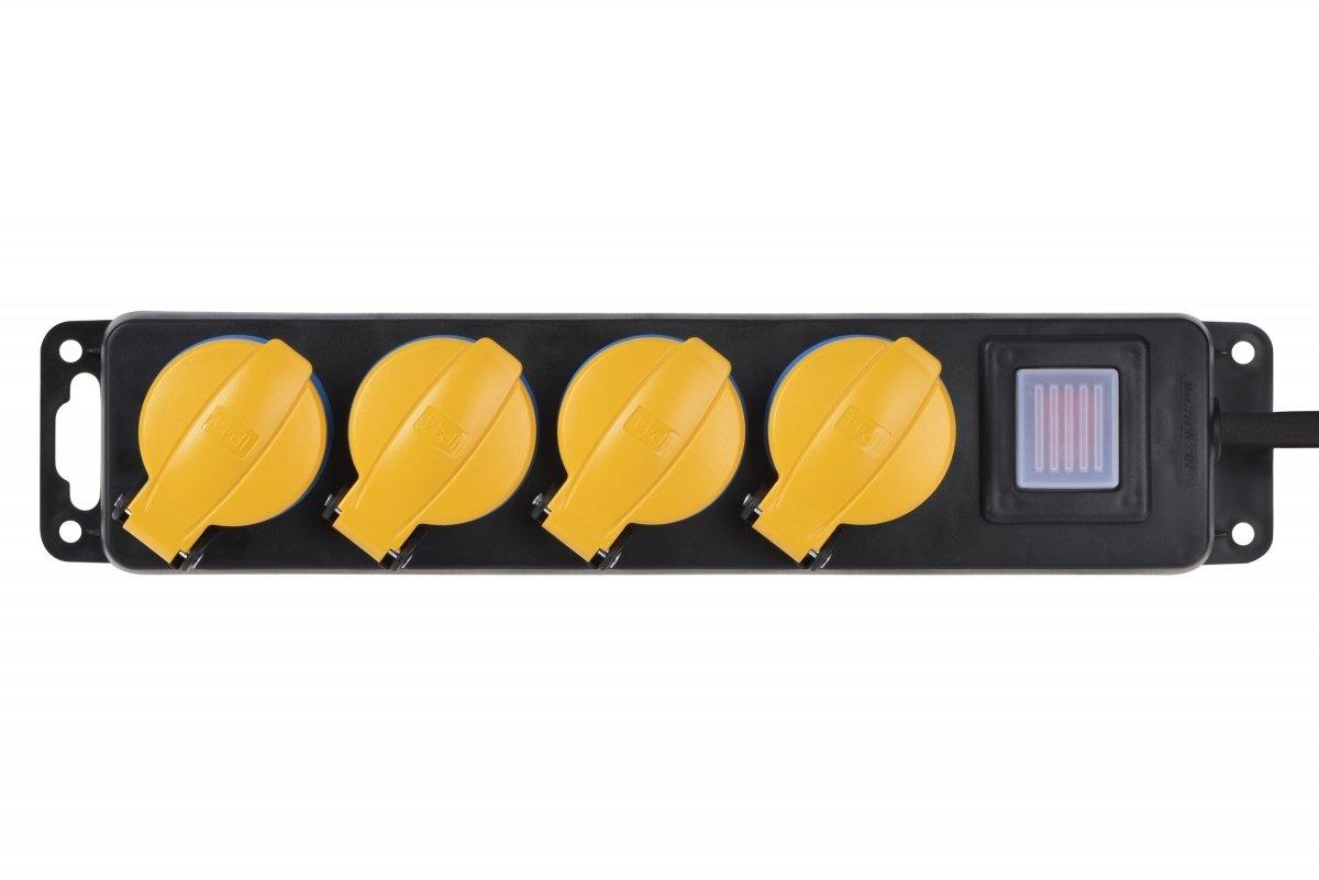 Сетевой фильтр 2Е 4xSchuko ІР44 с защитой, 3G1.5*3м, черный фото 2