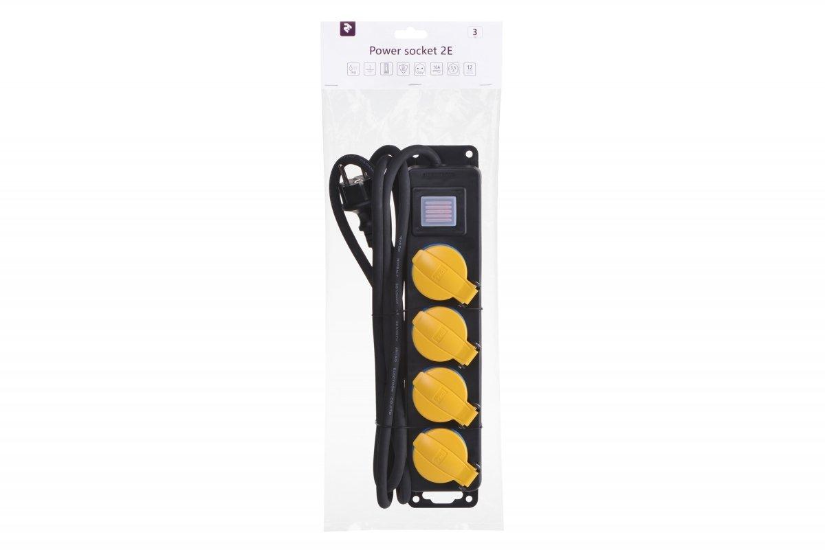 Сетевой фильтр 2Е 4xSchuko ІР44 с защитой, 3G1.5*3м, черный фото 3