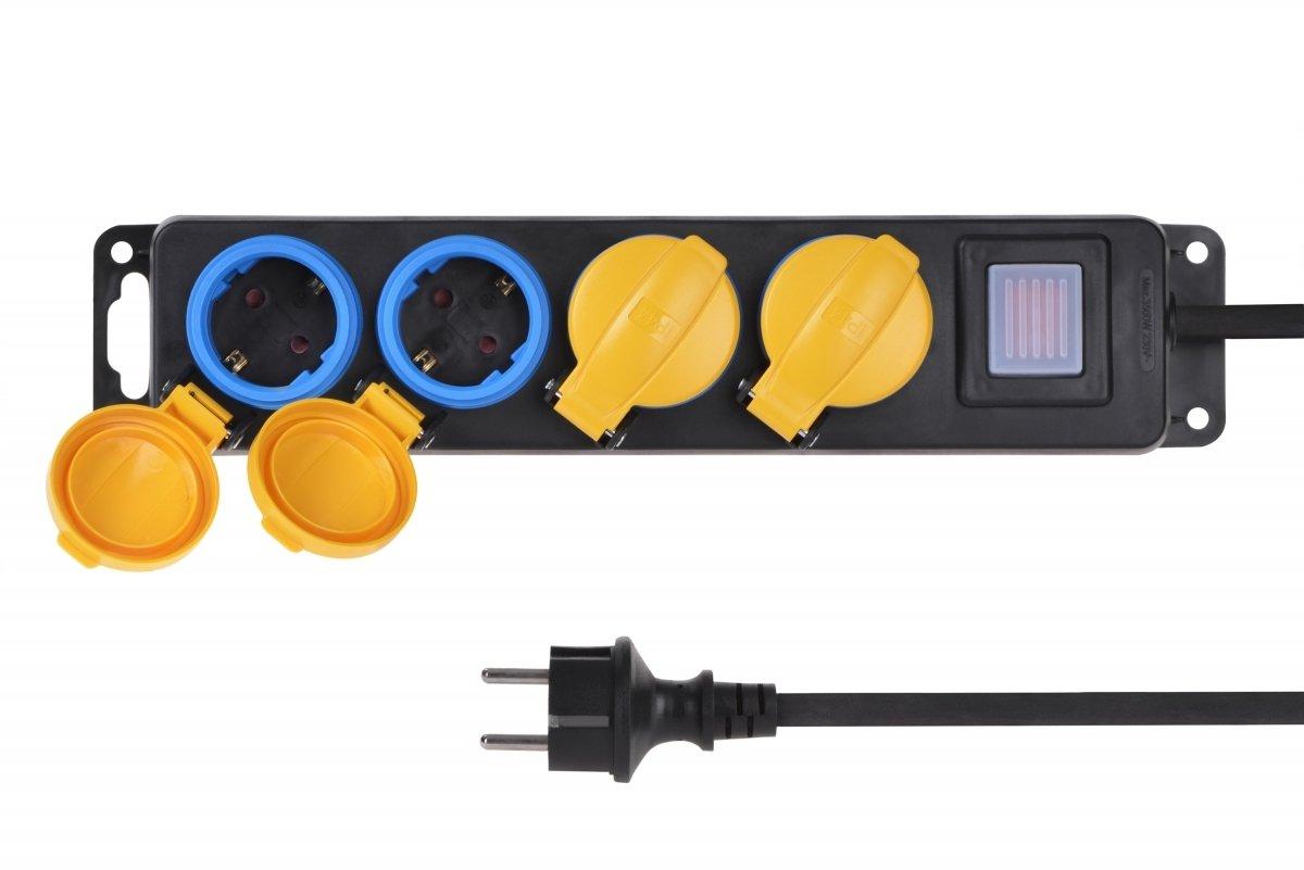 Сетевой фильтр 2Е 4xSchuko ІР44 с защитой, 3G1.5*3м, черный фото 5