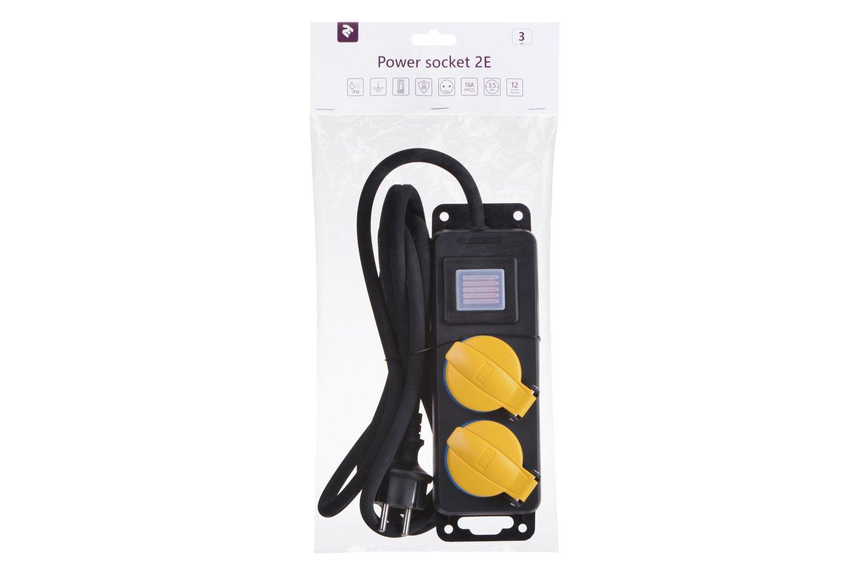 Сетевой фильтр 2Е 2xSchuko ІР44 с защитой, 3G1.5*3м, черный фото 5