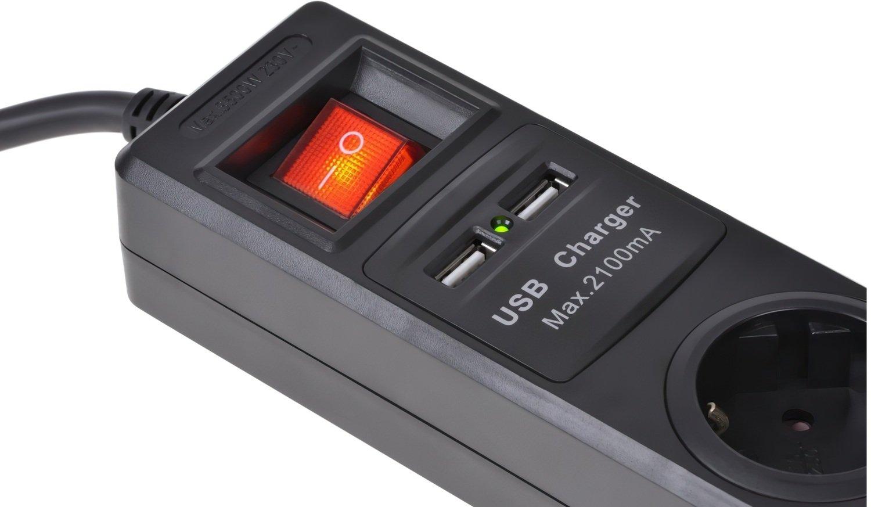 Сетевой фильтр 2Е 3xSchuko с защитой, 2хUSB 2.1А, 3G1.5*1.8м, черный фото 4
