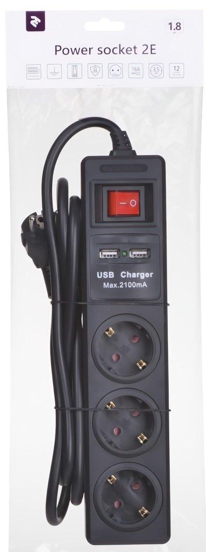 Сетевой фильтр 2Е 3xSchuko с защитой, 2хUSB 2.1А, 3G1.5*1.8м, черный фото 3