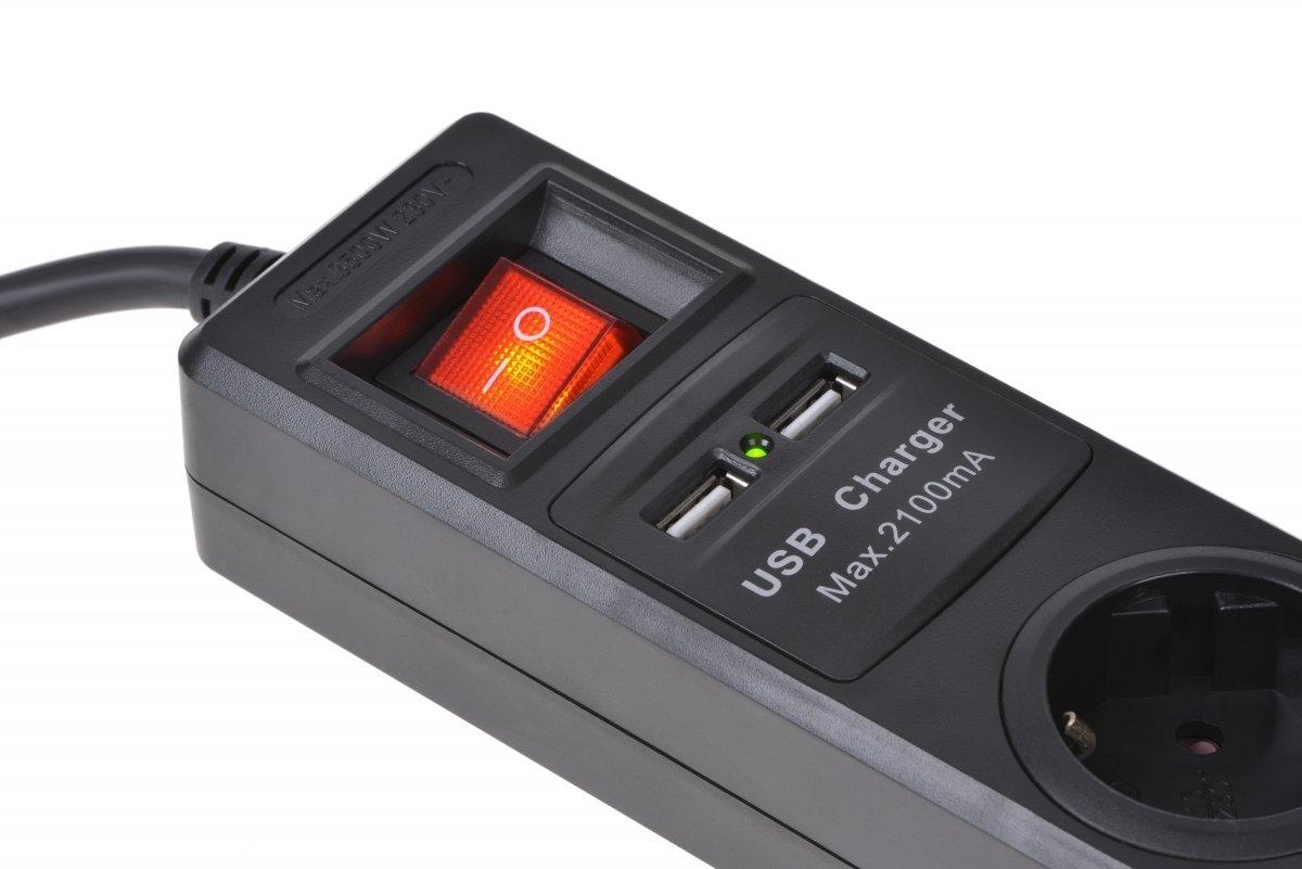 Сетевой фильтр 2Е 4xSchuko с защитой, 2хUSB 2.1А, 3G1.5*1.8м, черный фото 4