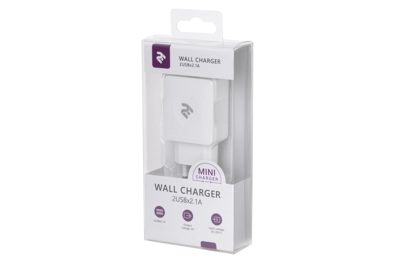 Мережевий зарядний пристрій 2E USB Wall Charger 2USBX2.1A Whiteфото4