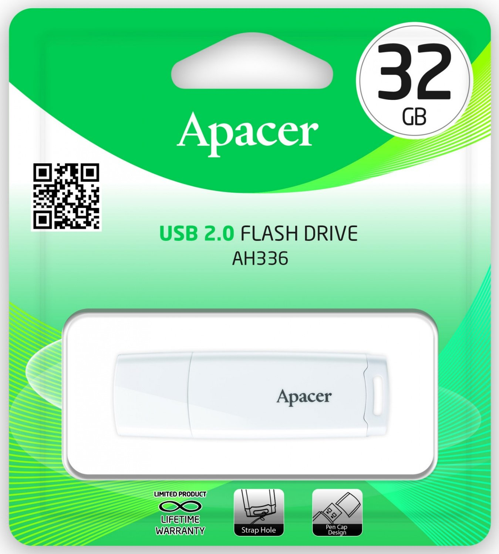 Накопичувач USB 2.0 APACER AH336 32GB White (AP32GAH336W-1) фото3