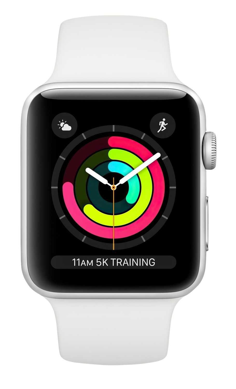 Смарт-часы Apple Watch Series 3 GPS 42mm Silver Aluminium Case with White Sport Band (MTF22FS/A) фото