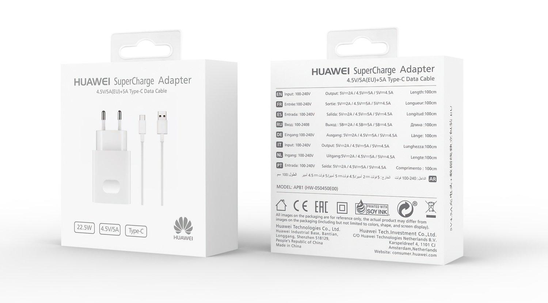 Мережевий зарядний пристрій Huawei AP81 SuperCharger+Type-C Cable White фото6