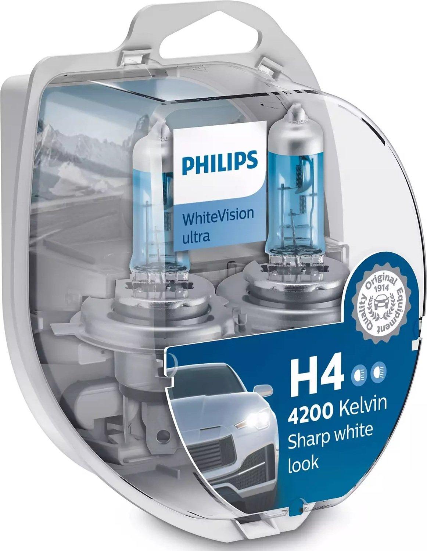 Лампа галогенная Philips H4 WhiteVision Ultra, 4200K, 2шт/блистер фото 4