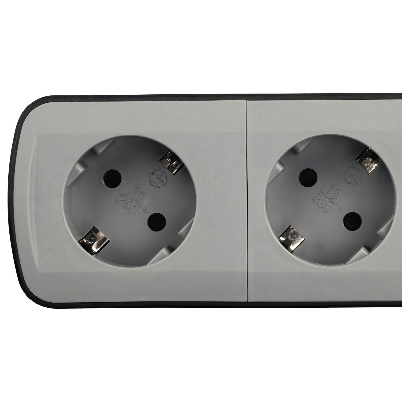 """Удлинитель НАМА """"TIDY-Line"""" на 4 розетки, с выключателем, 1.5м, черный / серый фото 2"""