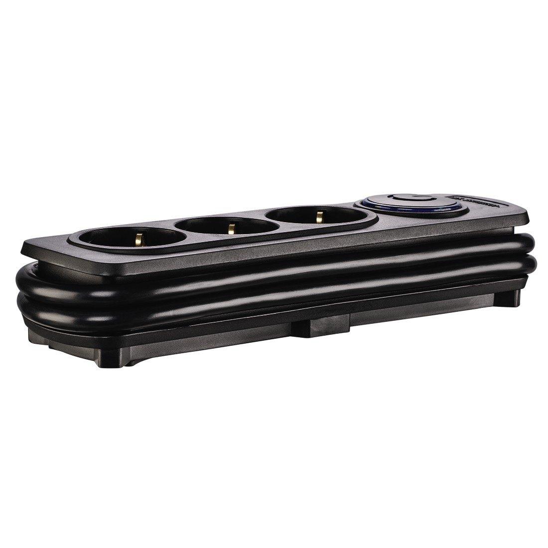 Удлинитель НАМА на 3 розетки, с выключателем, 1,5 м, черный фото 4
