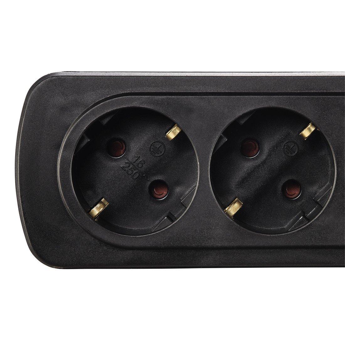 Удлинитель НАМА на 3 розетки, с выключателем, 1,5 м, черный фото 2