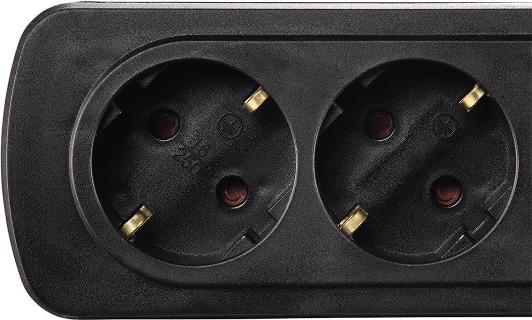 Удлинитель НАМА на 6 розеток, с выключателем, 1,5 м, черный фото 3