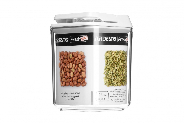 Контейнер для сипучих Ardesto Fresh білий вакуумний 0,9 л (AR1309WP) фото