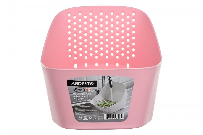 Миска с ситом Ardesto Fresh розовая (AR1601PP) фото