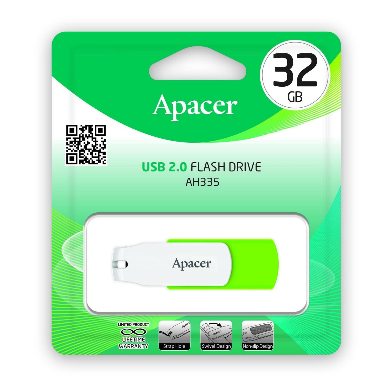 Накопичувач USB 2.0 APACER AH335 32GB Green/White (AP32GAH335G-1) фото