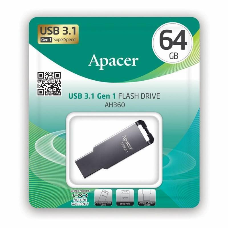 Накопичувач USB 3.1 APACER AH360 64GB Metal Black (AP64GAH360A-1) фото2