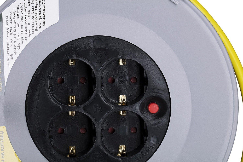 Удлинитель на катушке 2Е 4XSchuko, с заземл., ІР20, метал.,3Gх1.5мм, 50 м (2E-U04REM50M) фото 3