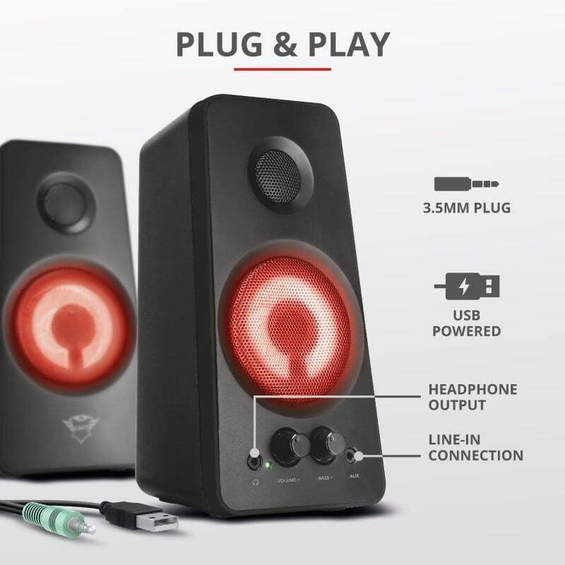 Акустична система Trust 2.0 GXT 608 Tytan Illuminated Speaker Set Black (21202_TRUST)фото