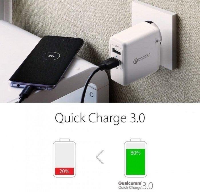 Мережевий зарядний пристрій Spigen Essential F207 Quick Charge 3.0 Wall Charger White фото5