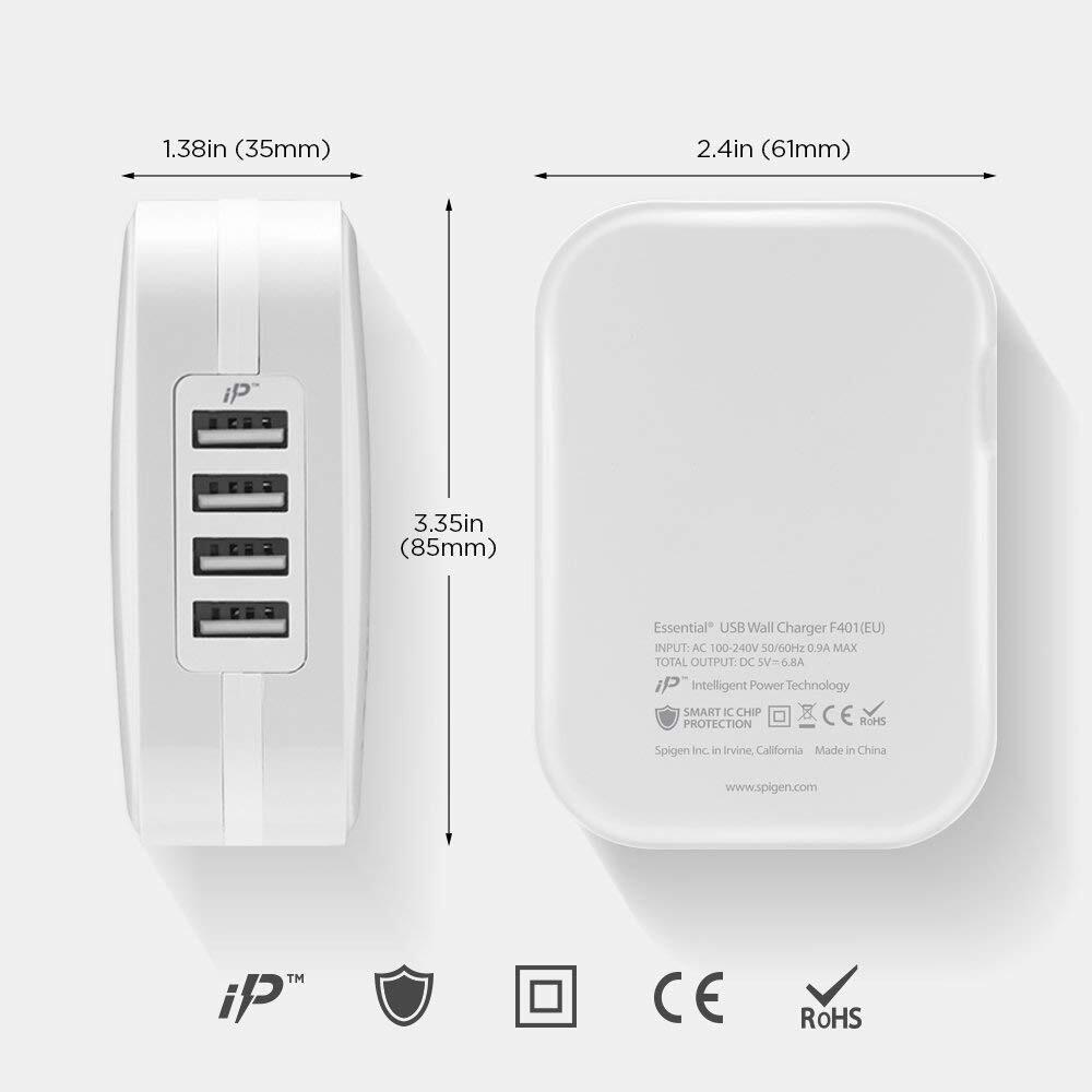 Сетевое зарядное устройство Spigen F401 USB White фото 5