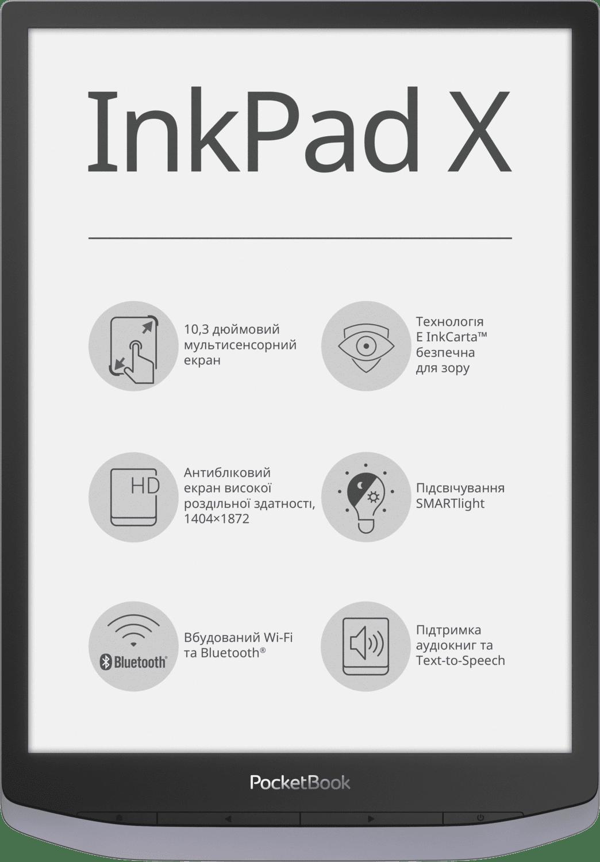 Електронна книга PocketBook InkPad X Metallic Gray фото2
