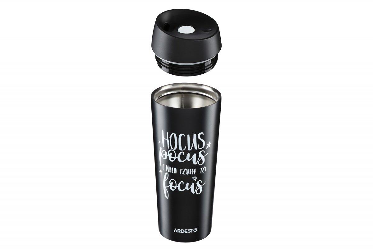 Термочашка Ardesto Coffee time Hocus 450 мл черная (AR2645DMB) фото 5