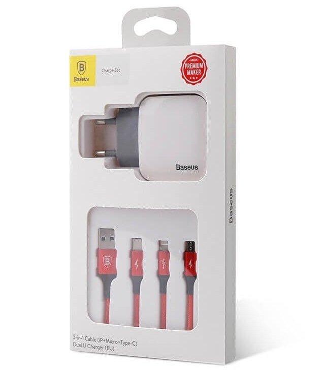 Зарядное устройство Baseus Letour Dual U Charger(EU)+3-in-1 Red Cable (Apple+Micro+Type-C) White фото 4
