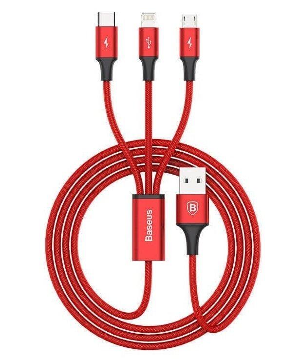 Зарядное устройство Baseus Letour Dual U Charger(EU)+3-in-1 Red Cable (Apple+Micro+Type-C) White фото 2