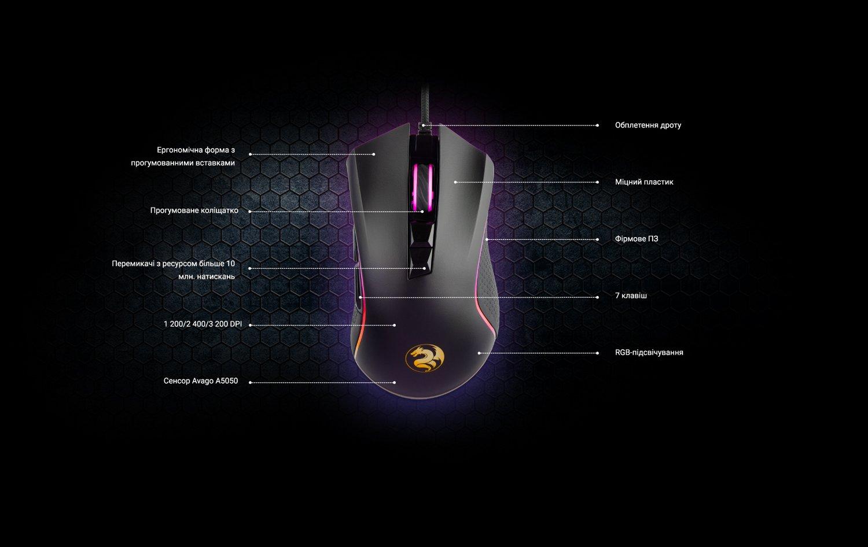 Ігрова миша 2E Gaming MG340 RGB USB Black (2E-MG340UB) фото