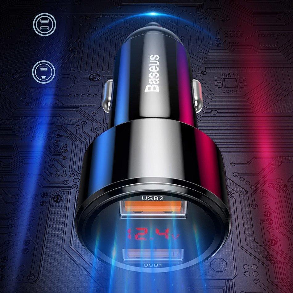 Автомобильное ЗУ Baseus Magic Series Dual QC 2x3.0, display, red фото 5