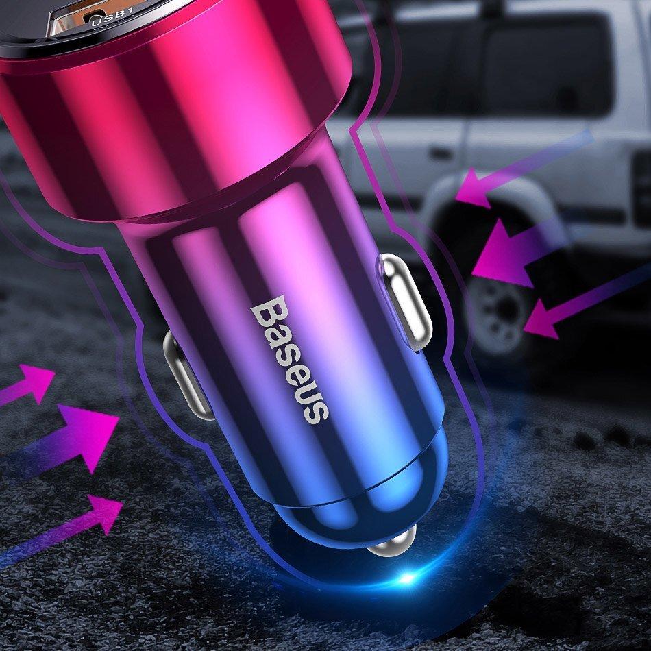 Автомобильное ЗУ Baseus Magic Series Dual QC 2x3.0, display, red фото 6