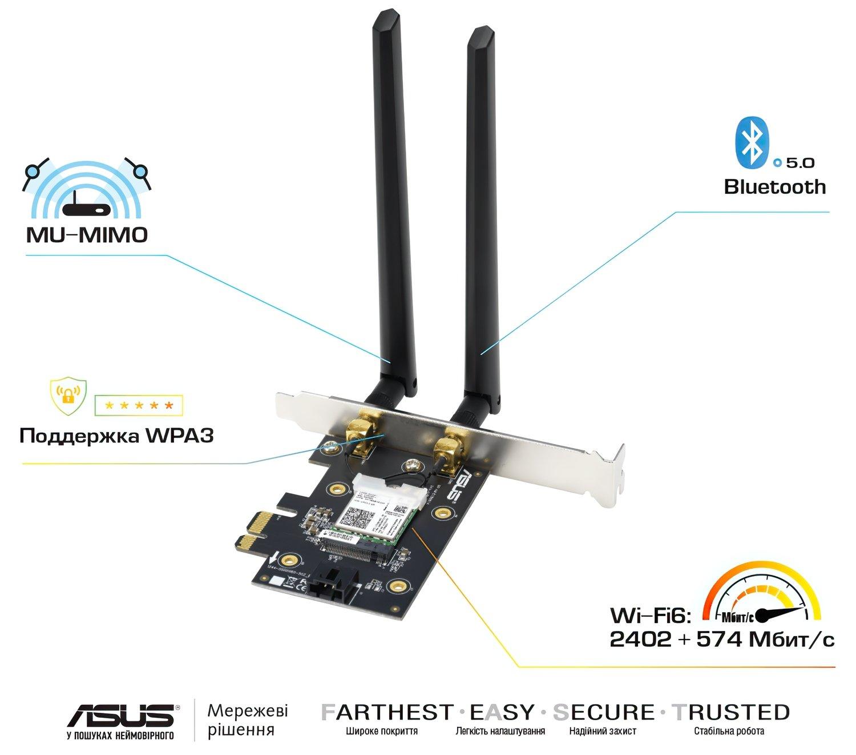 WiFi-адаптер Asus PCE-AX3000 WiFi6, WPA3, Bluetooth 5.0, MU-MIMO, OFDMA фото5