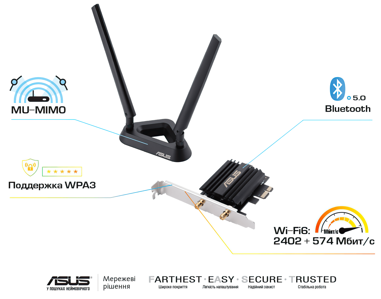 WiFi-адаптер ASUS PCE-AX58BT AX3000 WiFi6 WPA3 Bluetooth 5.0 MU-MIMO OFDMA фото5