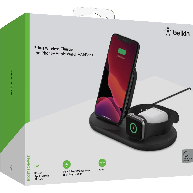 Беспроводное зарядное устройство Belkin 3-in-1 Wireless Pad/Stand/Apple Watch, black фото 8