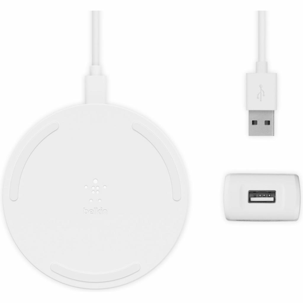 Бездротовий ЗУ Belkin Pad Wireless Charging Qi, 15W, white фото
